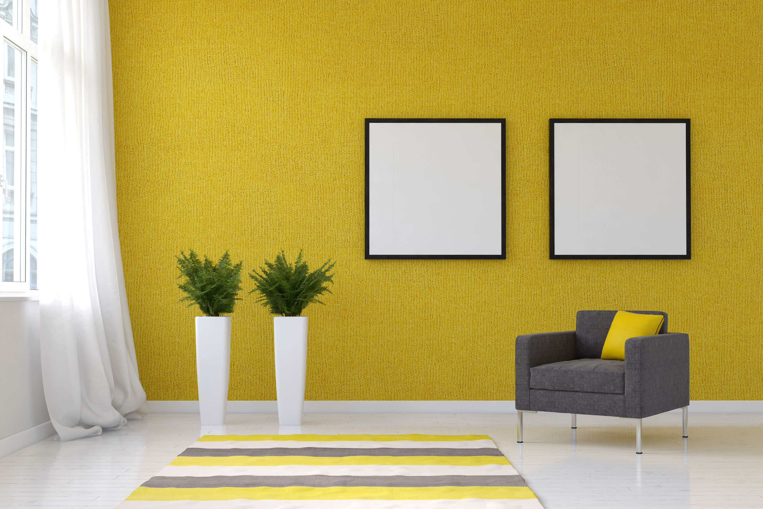 60642166 - bright living room with striped throw rug, pai. 3d rendering.