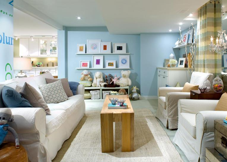 light blue basement