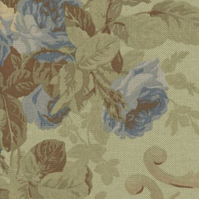 Ralph Lauren Cottage Rose Prairie Blue Cotton Prints Fabric By The Yard